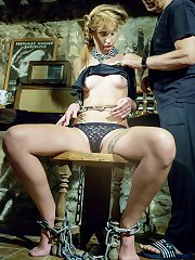 Obedient slave excited the pain