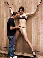 Tall chick flogged by sadist