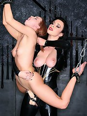 Strict mistress plays with her sub